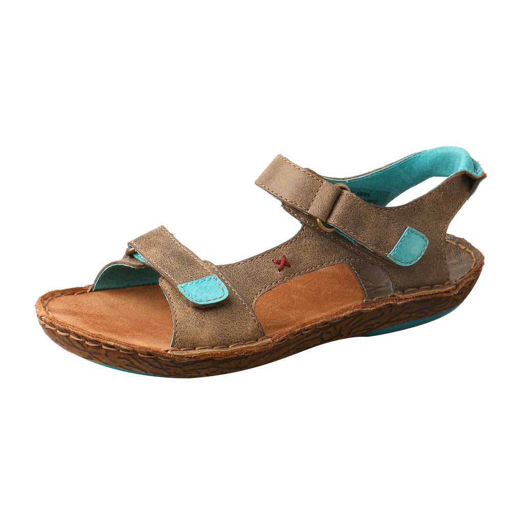 Angled picture of the outter side of the Women's Twisted X Leather Wrap Sandal WLW0004