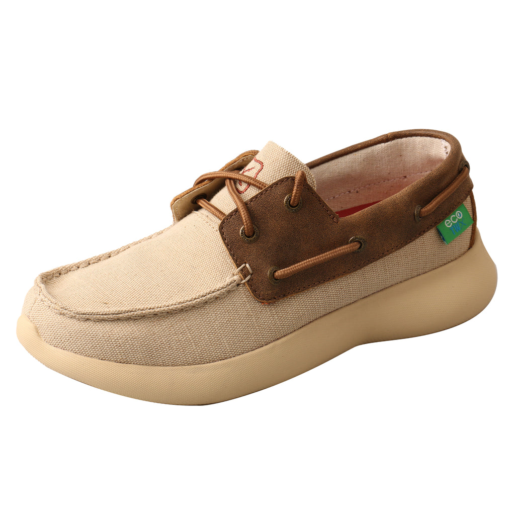 Angled picture of the outter side of the Women's Twisted X ECO Boat Shoe EVA12R WRV0002