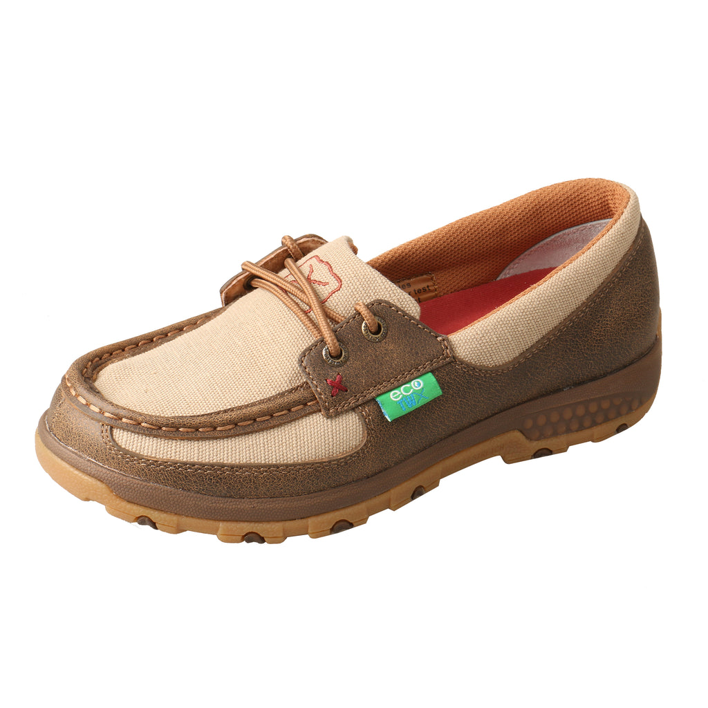 Angled picture of the outter side of the Women's Twisted X ECO Boat Shoe Driving  Moc with CellStretch WXC0003