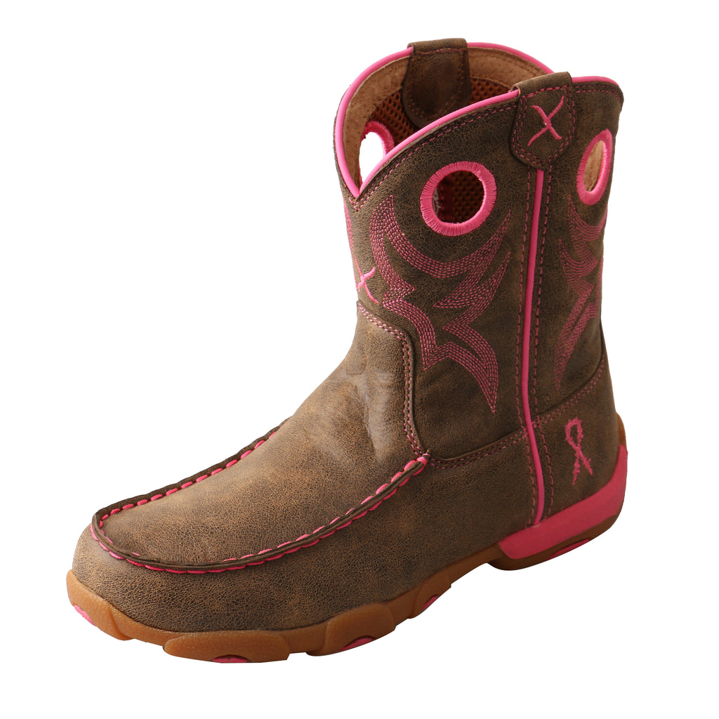 Angled picture of the outter side of the Kid's Twisted X Driving Moccasins Boot YDB0001