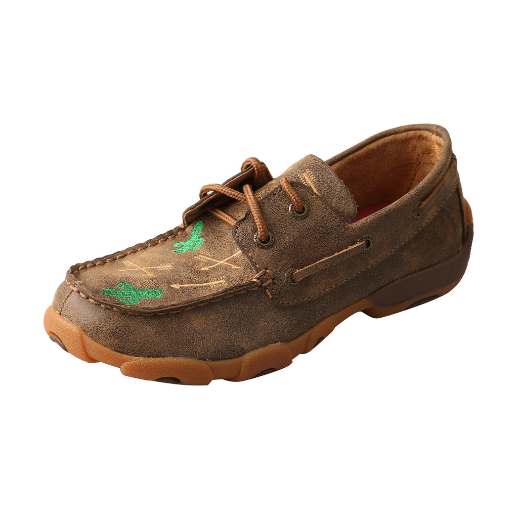 Angled picture of the outter side of the Kid's Twisted X Boat Shoe Driving Moc YDM0035