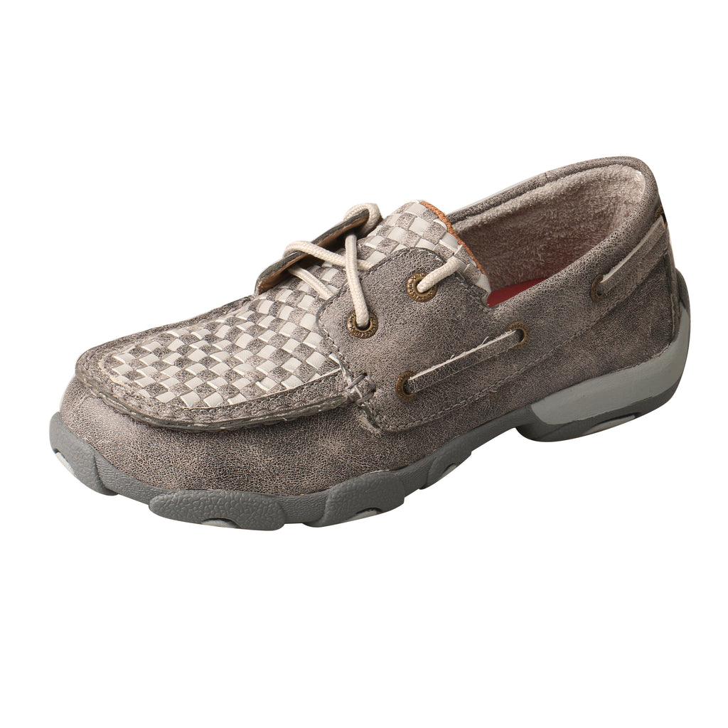 Angled picture of the outter side of the Kid's Twisted X Boat Shoe Driving Moc YDM0039