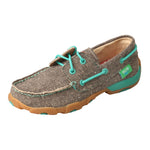 Angled picture of the outter side of the Kid's Twisted X ECO Boat Shoe Driving Moc YDM0040