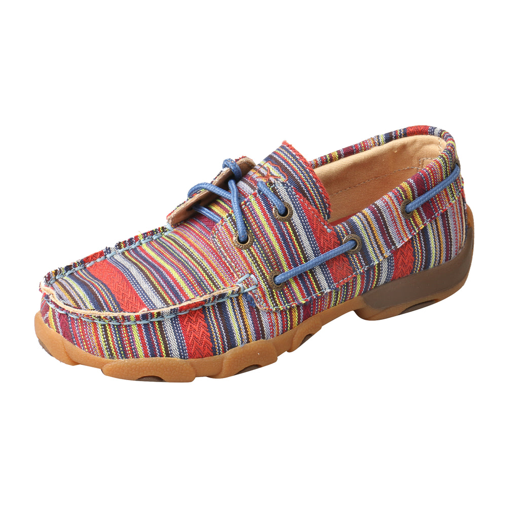 Angled picture of the outter side of the Kid's Twisted X Boat Shoe Driving Moc YDM0041