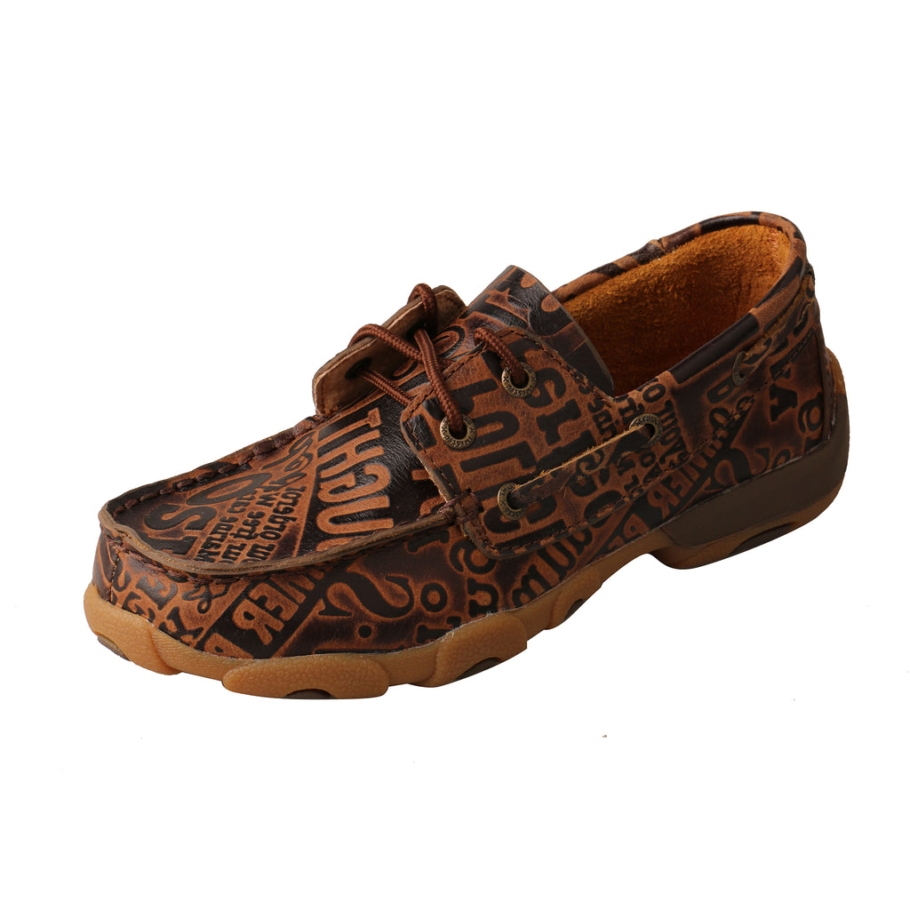 Angled picture of the outter side of the Kid's Twisted X Boat Shoe Driving Moc YDM0043