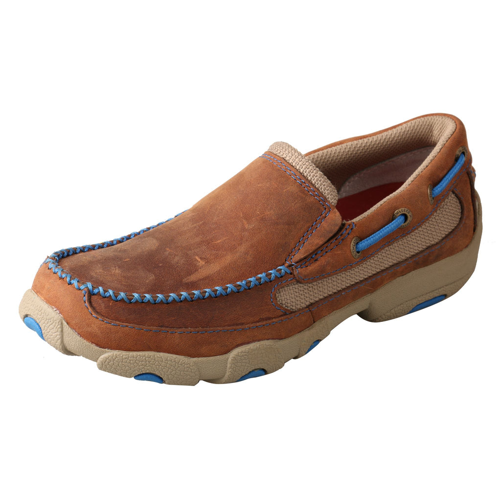 Angled picture of the outter side of the Kid's Twisted X Slip-on Driving Moccasins YDMS001