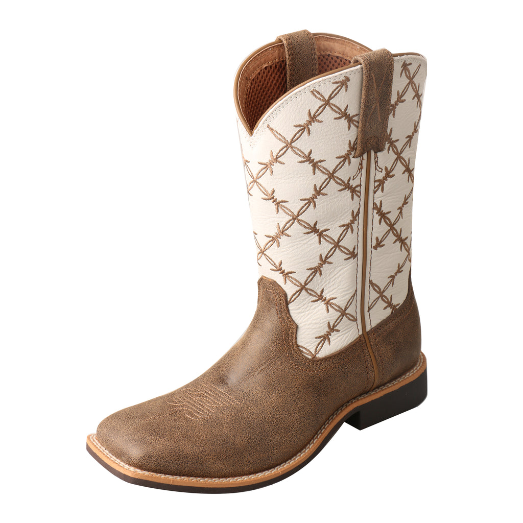 Angled picture of the outter side of the Kid's Twisted X Top Hand Boot YTH0010