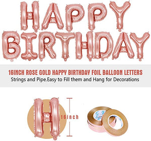 70pcs Rose Gold Birthday Party Decorations Happy Birthday Banner Latex Balloon with Foil Balloon