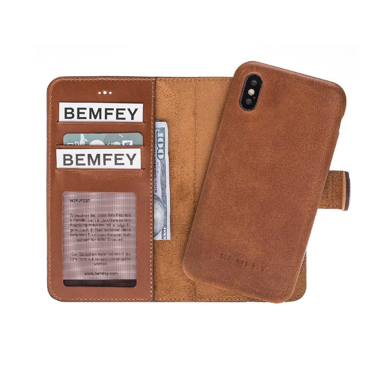 MONACO Magnetic 2 in 1 Detachable Handmade Luxury Brown Leather iPhone X | XS Wallet Case