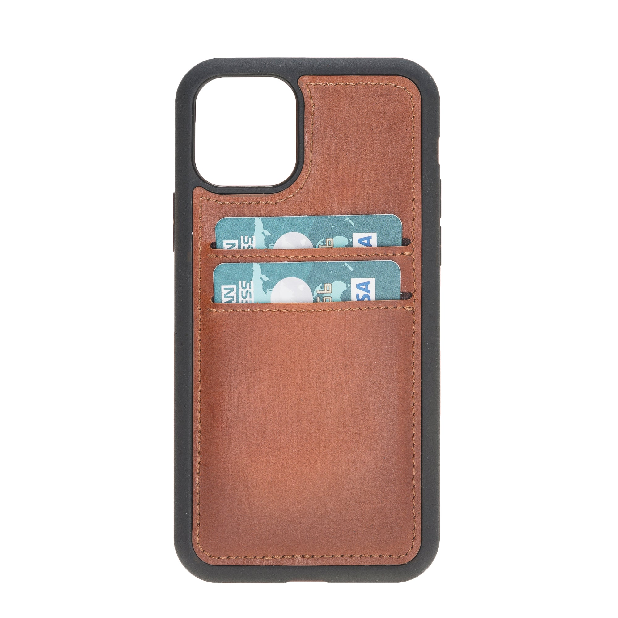 "Brown Burnished Apple iPhone 11 PRO (5.8"") Leather Case w/ Card Slots"
