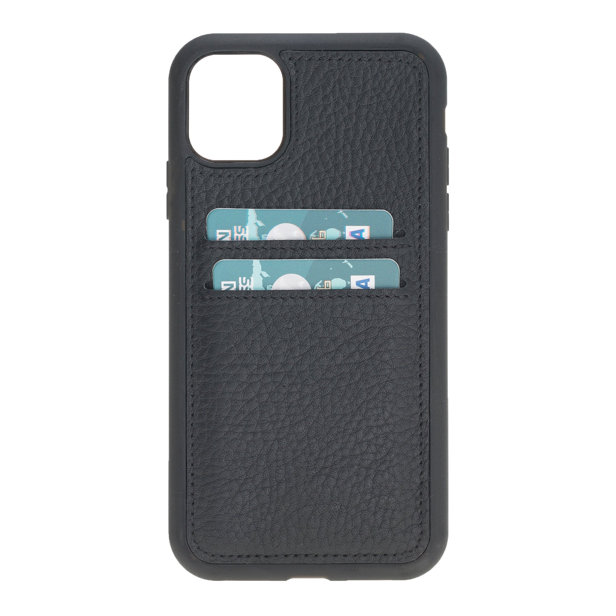 "Black Apple iPhone 11 (6.1"") Leather Case w/ Card Slots"