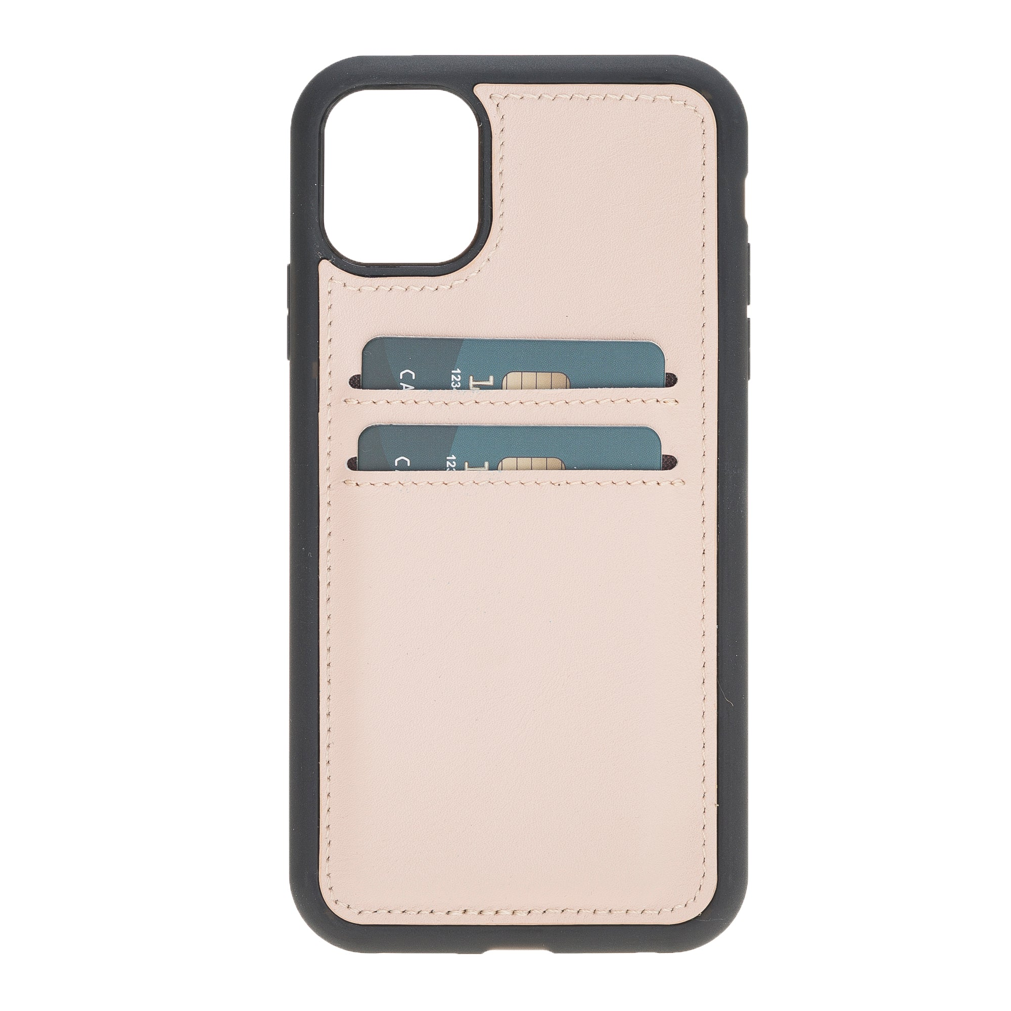 "Nude Beige Apple iPhone 11 (6.1"") Leather Case w/ Card Slots"