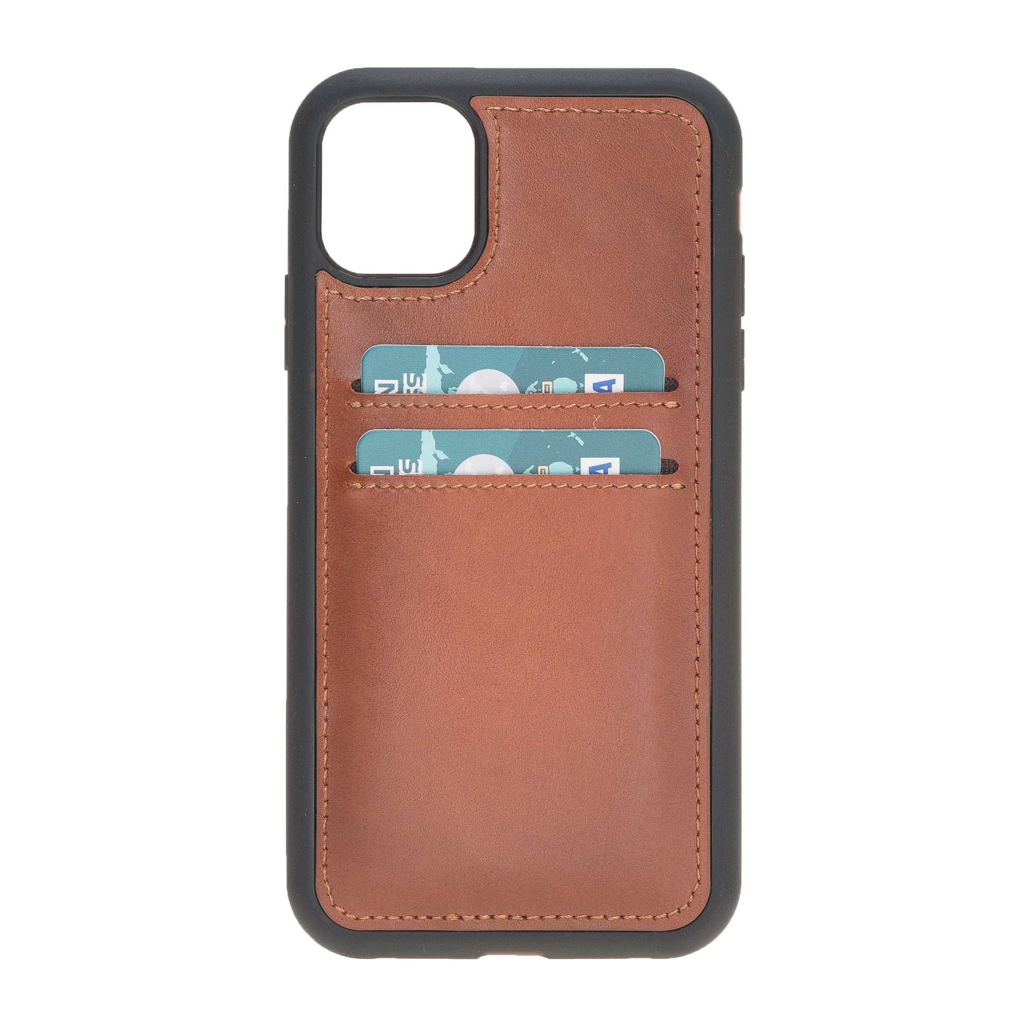 "Brown Burnised Apple iPhone 11 (6.1"") Leather Case w/ Card Slots"