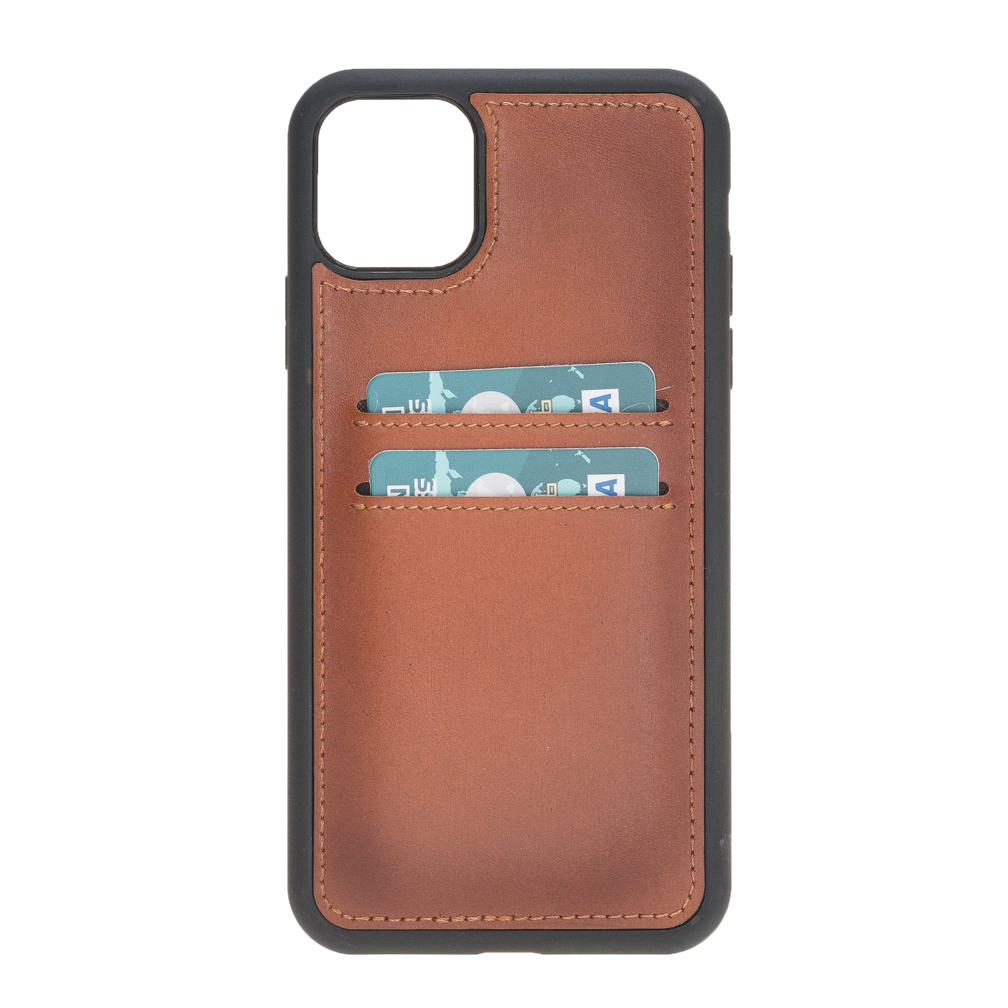 "Brown Burnished Apple iPhone 11 PRO MAX (6.5"") Leather Case w/ Card Slots"