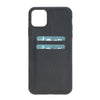 "Black Apple iPhone 11 PRO MAX (6.5"") Leather Case w/ Card Slots"
