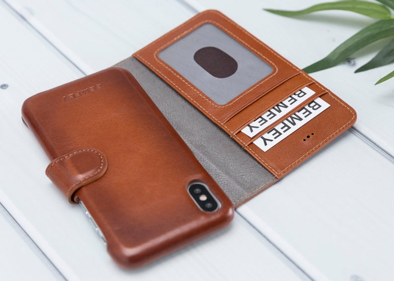 MONACO Magnetic 2 in 1 Detachable Luxury Brown Leather iPhone X | XS Wallet Case