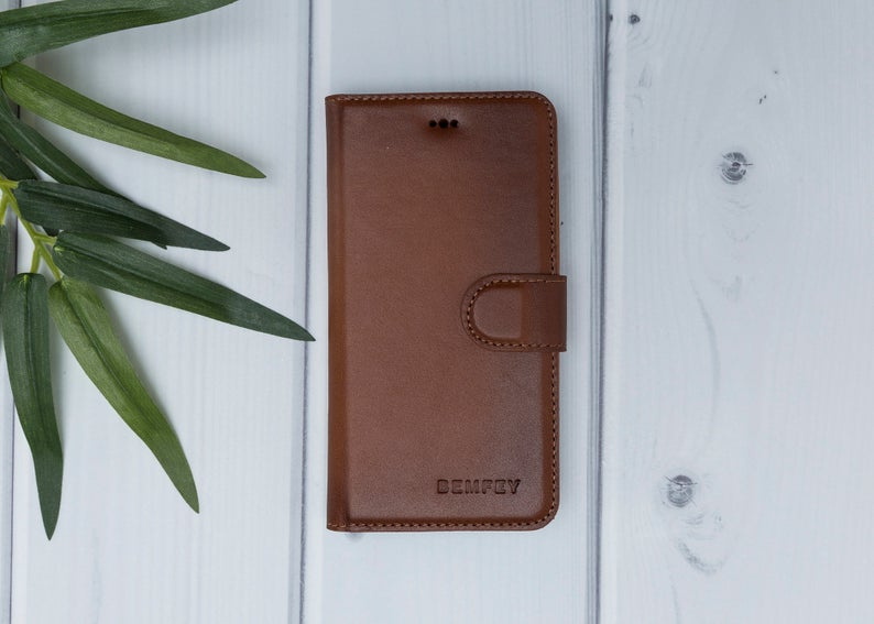 MONACO Magnetic 2 in 1 Handmade Luxury Brown Burnished Leather iPhone X| XS Wallet Case