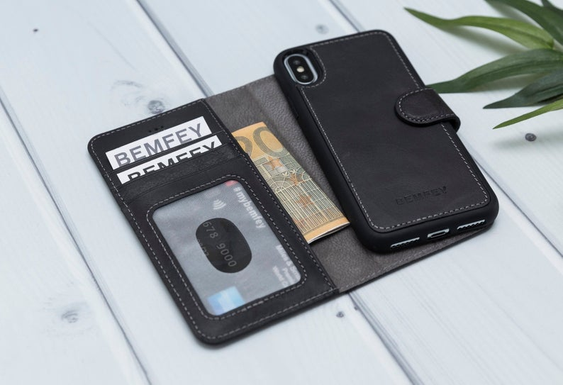 MONACO Magnetic 2 in 1 Detachable Handmade Luxury Grey Leather iPhone X | XS Wallet Case
