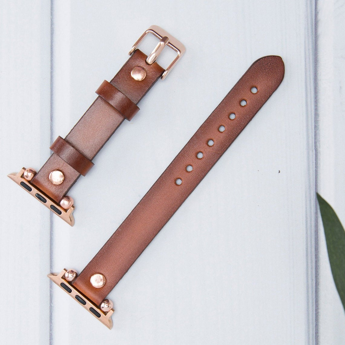 Brown Burnished - Leather Apple Watch Band - Fina Series