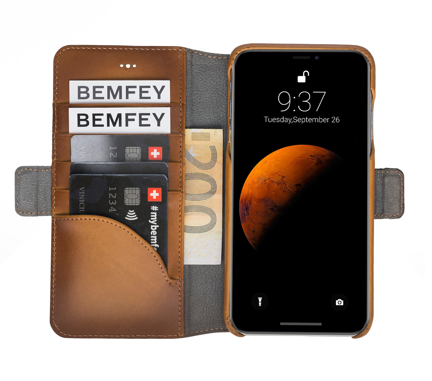 Saddle Brown Burnished Apple iPhone XS MAX 2in1 Wallet Case