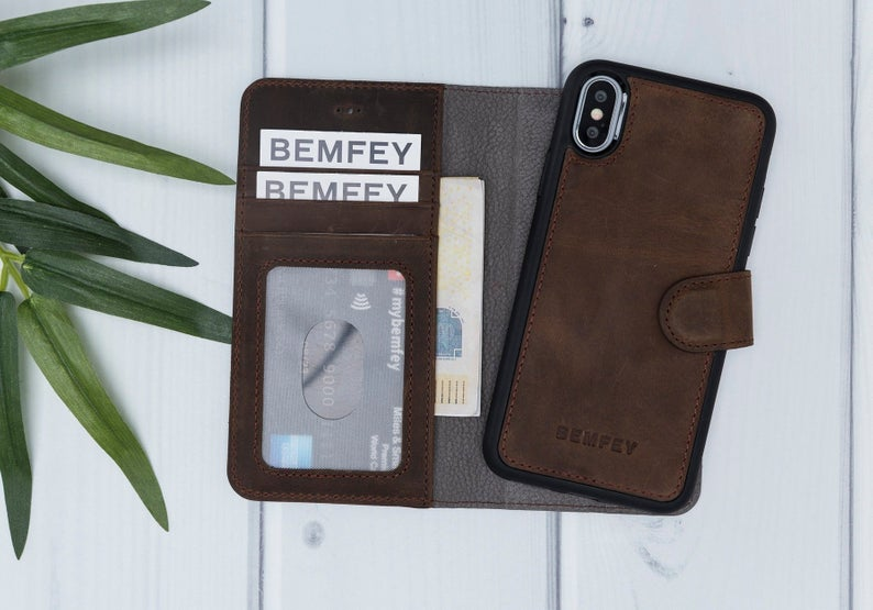 MONACO Magnetic 2 in 1 Detachable Handmade Luxury Coffee Brown Leather iPhone X | XS Wallet Case