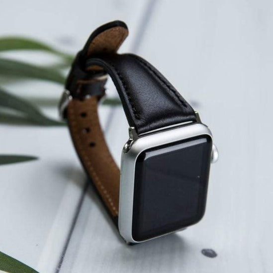 Black Leather Slim Apple Watch Band