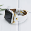 MODENA Slim Handmade Luxury White Leather Apple Watch Band 38-40mm 42-44mm