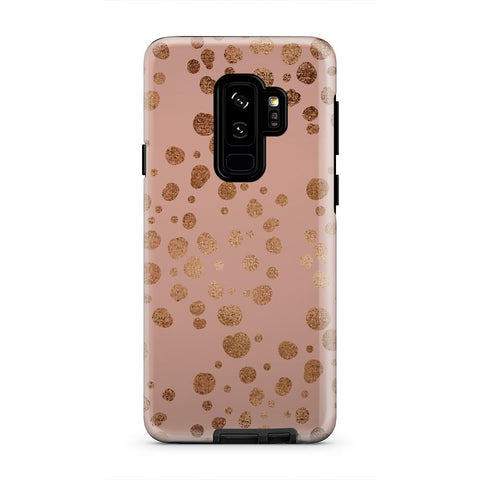 Peach and Gold Polka Dot Make Up iPhone X Case - urbanlashed