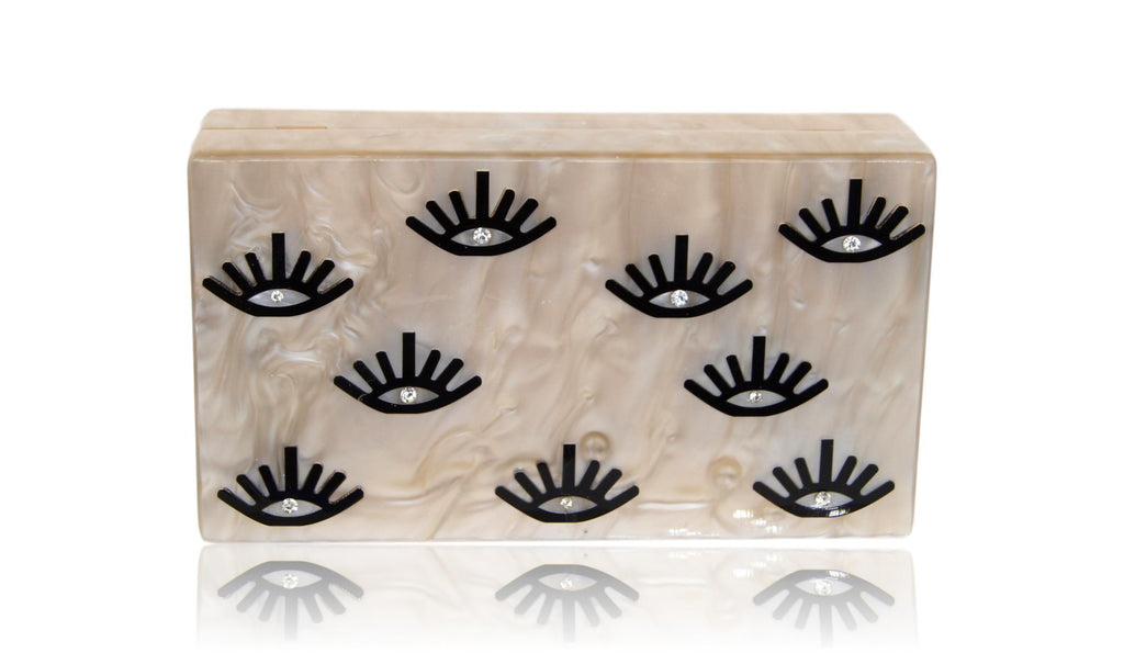 Evil Eye Lash Acrylic Box Clutch - urbanlashed
