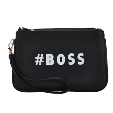 Mechaly Women's Slogan Boss Black Vegan Leather Wallet - urbanlashed