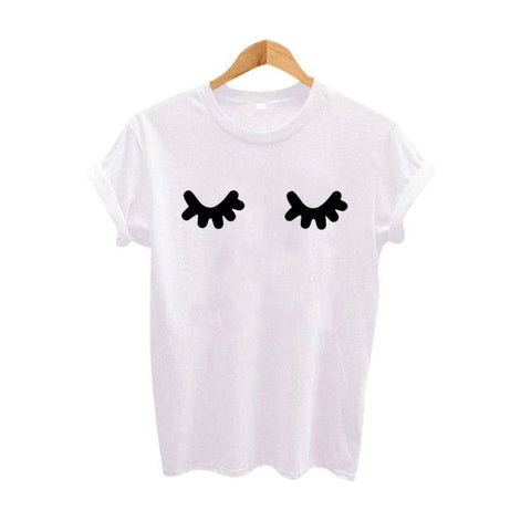 Cute Eyelashes Print Tshirt Women Harajuku Punk Fashion T-shirt Black White Tops Summer Women Kawaii Clothes Tees - urbanlashed
