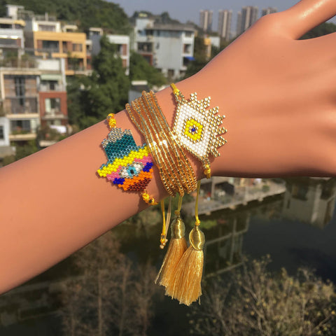 Go2boho MIYUKI Bracelet Turkish Evil Eye Bracelet Hamsa Colorful Hand Pulsera Gold Yellow Jewelry Tassel Bracelets For Women New - urbanlashed