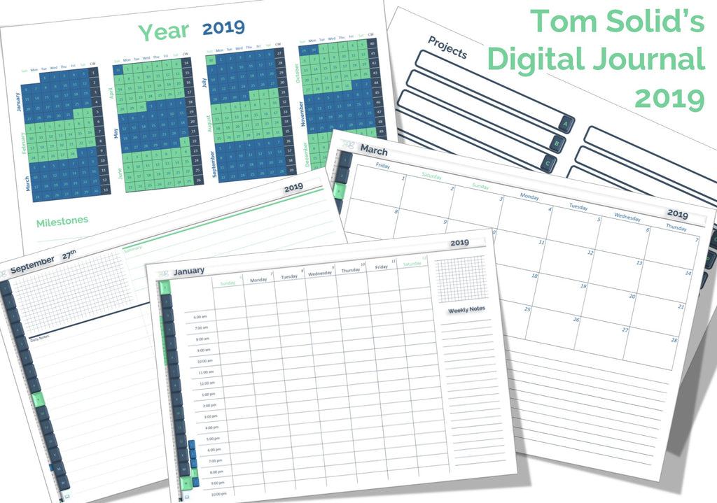 Tom Solid's Digital Journal 2019 - Landscape + Portrait Format