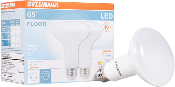 SYLVANIA 78029 9 Watt LED BR30, 3500 Kelvin, Dimmable, Pack of 2