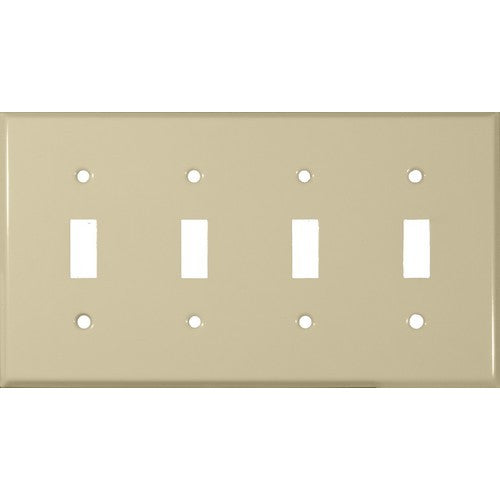 Morris Products 83043 Painted Steel Wall Plates 4 Gang Toggle Switch Ivory -Painted Steel Wall Plate for 4 Toggle Switch