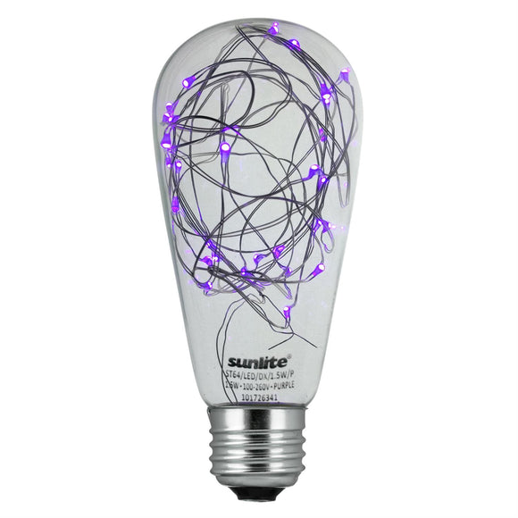 Sunlite  81189-SU - ST64/LED/DX/1.5W/P LED ST64 Vintage Style Decorative Bulb, Purple