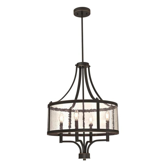 Westinghouse 6368400 Four Light Chandelier, Oil Rubbed Bronze Finish with Highlights, Clear Seeded Glass