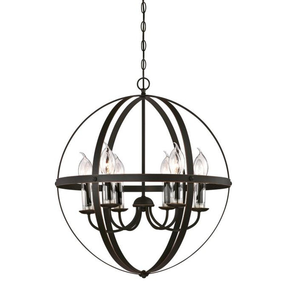 Westinghouse 6339000 Six Light Chandelier, Oil Rubbed Bronze with Highlights Clear Glass Candle Covers