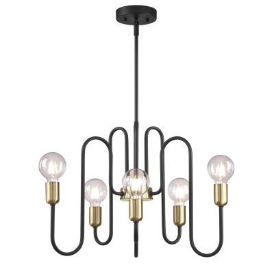 Westinghouse 6576000 Six Light Chandelier, Matte Black Finish with Antique Brass Accents