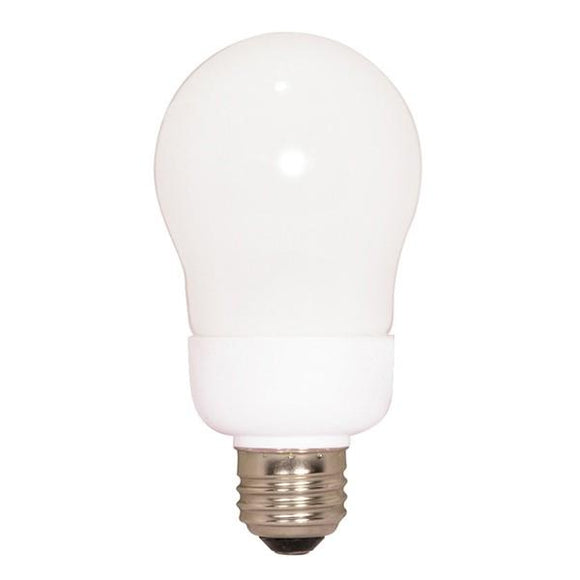 Satco S7284 9 Watt CFL A Type A19, 2900 Kelvin, Warm White, GU5.3-Miniature 2 Pin Round Base, 120 Volt, 2000 Average Rated Hours