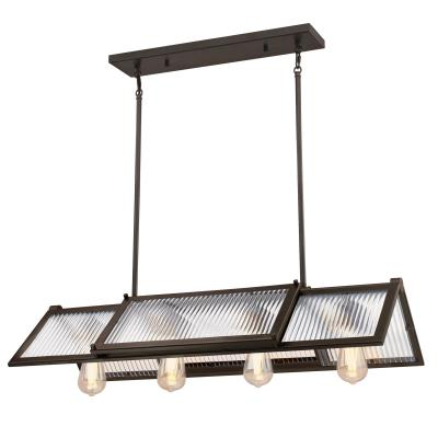 Westinghouse 6577200 Four Light Chandelier, Oil Rubbed Bronze Finish, Clear Ribbed Glass