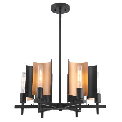 Westinghouse 6575800 Six Light Chandelier, Matte Black Finish with Metallic Bronze Accents