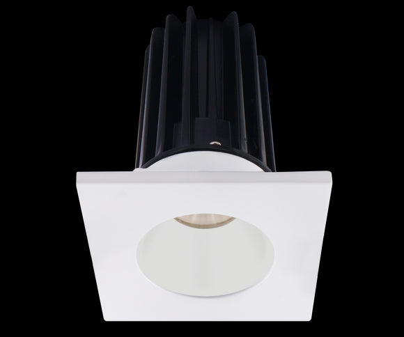 Lotus LED 2 Inch Square Recessed LED 15 Watt High Output Designer Series - 3000 Kelvin - White Reflector - Trim White