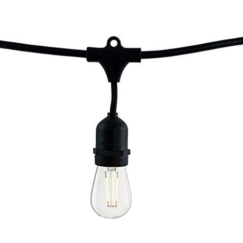 Bulbrite 810009 14' STRING LIGHT 10 SOCKETS KIT BLACK W/ LED 2 Watt S14 CLEAR , 2700 Kelvin , Warm White , E26-Medium Base LAMP - 120 Volt