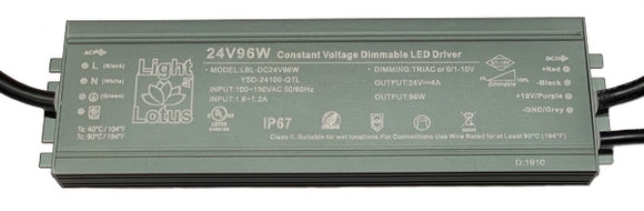 Lotus LED Lights 24 Volts Class 2 Power Supply 96 Watt Dimmable