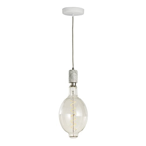 Bulbrite 810121 4 Watt LED BT SHAPED GRAND 2200 Kelvin FILAMENT W/ NATURAL WHITE MARBLE PENDANT , E26-Medium Base 120 Volt