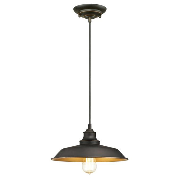 Westinghouse 6344700 1 Light Pendant Oil Rubbed Bronze Finish with Highlights and Metallic Bronze Interior