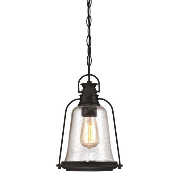 Westinghouse 6339900 One Light Pendant, Oil Rubbed Bronze Finish with Highlights Clear Seeded Glass