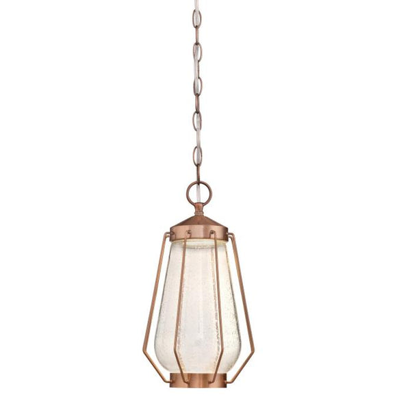 Westinghouse 6373700 One Light LED Pendant, 12 Watt Dimmable, Washed Copper Finish, Clear Seeded Glass