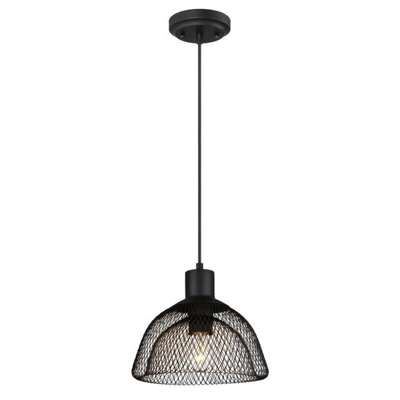 Westinghouse 6345100 1 Light Pendant Matte Black Finish with Cage Shade